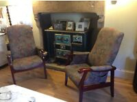 Pair cintique fireside chairs