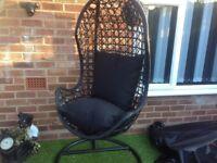 Black rattan swing chair