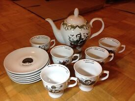 Hendricks Gin Dreamscapes Tea Set - 6 cups, 6 saucers and teapot - rare Limited Edition