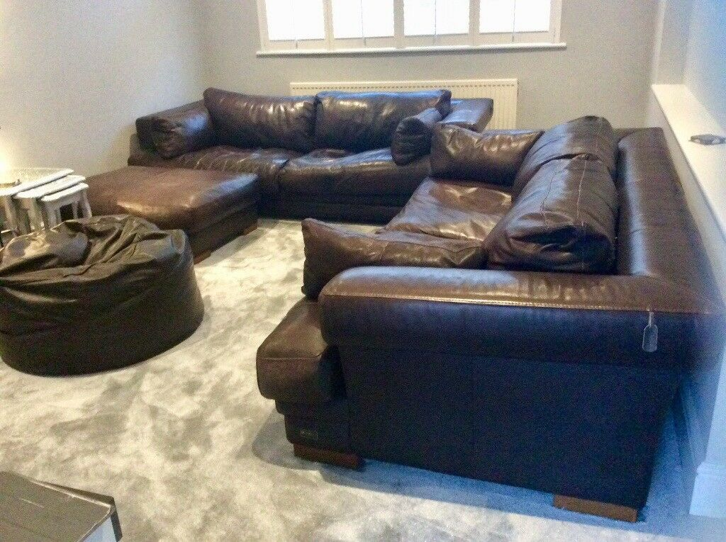 Admirable 2 Large Giovanni Sforza Collection Chocolate Brown Leather Sofas Inc Matching Foot Stall Beanbag In Kennington Kent Gumtree Ocoug Best Dining Table And Chair Ideas Images Ocougorg