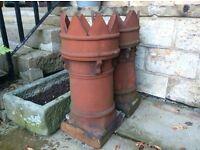 Victorian Terracotta Crown Chimney Pots - Pair