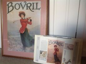 Old Golf Bovril Advertising Poster from around 1910 in good frame