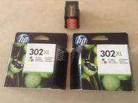 HP Printer Ink 2 Colour and 1 Black genuine HP 302XL