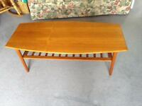 1970's Retro Teak Coffee Table with Slatted Undershelf