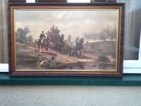 Picture ,on canvas of a team of four and carriage.