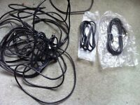 Large Job Lot of Various Cables Leads Chargers for Phone TV Radio HiFi Remote Control See Pictures