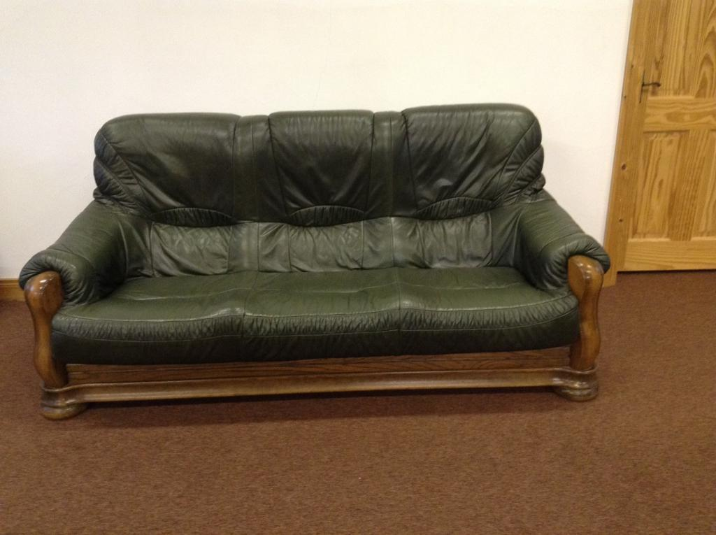 Green leather suite 3+2