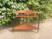 Vintage Retro Mid Century Corner TV Telephone Coffee Table with Dansette Legs
