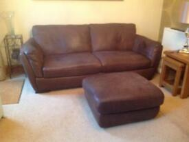 Leather sofa , chair and foot stool