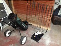 Full set of Golf Clubs, Dunlop Bag, Trolley etc