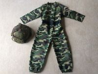 Army Dressing Up Outfit/Fancy Dress Age 5-6 & Hard Camouflage Helmet/Hat