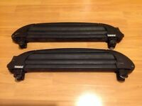 Thule 746 Snowpro Ski/Snowboard Carriers + Locks for Square Bars - 4 Pairs of Skis or 2 Snowboards