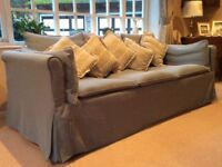 Three seater sofa bed in pastel blue