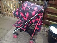 Cosatto flamingo fling buggy/pushchair with raincover & footmuff/liner