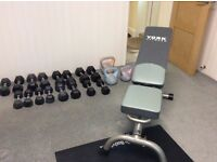 Bodymax Rubber Hex Dumbells, Kettlebells with York Fitness Bench