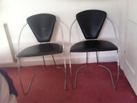 TWO Vintage leather and Metal Chairs