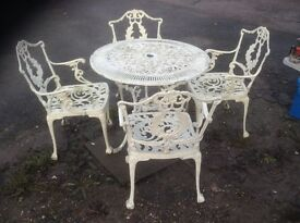 Victorian style cast alloy garden table x 2 and 7 chairs joblot