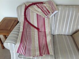 Curtains Laura Ashley Irving Stripe Cranberry and Tie Backs