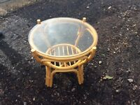 Cane/wicker round glass top coffee table