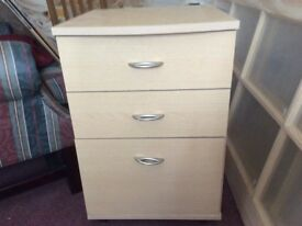 Pine 3 drawer unit. Bottom drawer will hold A4 files. Good condition