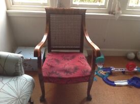 Beautiful antique George IV cane backed armchair. Solid wood.