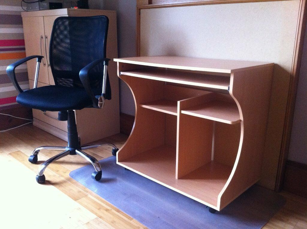 Computer desk and 5 wheel legs chairin DundeeGumtree - Computer desk and 5 wheel legs chair Spotless black office seat with adjustable levers, 5 spoke legs for good balance and safety. Desk with pull out key board shelf. lower back part open to receive computer ware and cables. Desk is on wheels for easy...