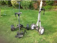 Hill Billy electric golf trolley with battery and mains charger plus free folding golf trolley