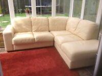 Violino cream italian leather corner sofa