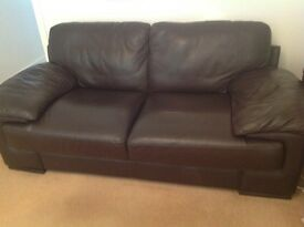 BOGOF Reids large brown leather sofas in excellent condition