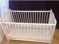 NEVER USED SOLID WOOD WHITE COT + BABY CHANGE