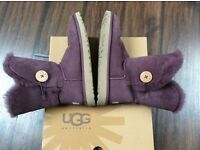 Ugg Boots Ladies Size 5UK Wine colour Bailey Button Genuine VGC