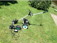 Hillbilly electric golf trolley with two batteries and charger