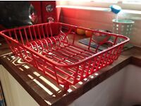 Red metal sink drainer/ dish holder