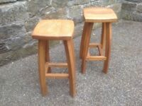Wooden Kitchen bar stools x 2 (heavy solid stools)