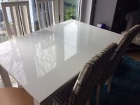 Harvey's extendable white & grey table and four chairs good condition