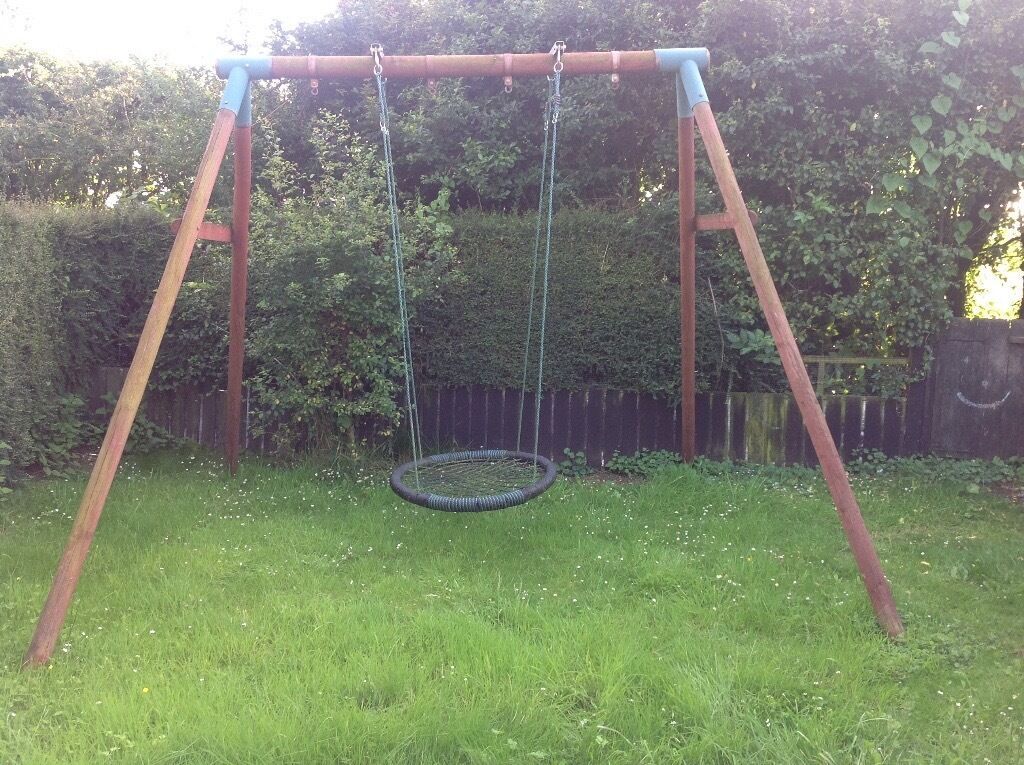 double wooden swing frame with basket swing and separate double swing seats - Wooden Swing Frame