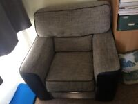 Grey fabric and faux leather armchair, good condition