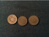 3 Half Pence Coins