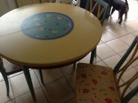 G Plan stunning extendable Table and four chairs Hand painted
