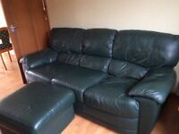 Green leather 3 seater sofa, arm chair & foot stool