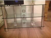 LARGE CLEAR GLASS TV STAND EXCELLENT CONDITION