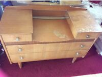 Offers welcome Vintage 50s teak Dressing table with mirror ,for restore or project painting