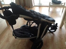 Brilliant Phil & Teds ,double pram, complete with footmuff and full raincover,Good Used con.4 wheel