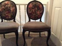2 x French Louis style chairs black ornate frame grey velvet seat & floral back restV