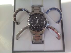 MENS 'PRINGLE' DESIGNER WRIST WATCH INTERCHANGEABLE COLOURED DIALS STAINLESS STEEL BOXED