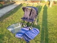 "Maclaren Double Buggy w/Rain Cover and 2 ""Cosy Toes"""