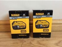 2x DeWalt DCB184 18v 5 ah XR Li-Ion Batteries Brand New