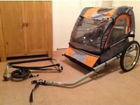 Halfords Double Buggy Child Bike Trailer With Stroller Accessory Kit