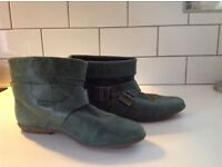 RED OR DEAD GREEN LEATHER PIXIE BOOTS