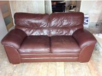 2 & 3 seater sofa. Brown leather.